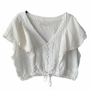 Urban Outfitters White Lace Button Down Blouse L